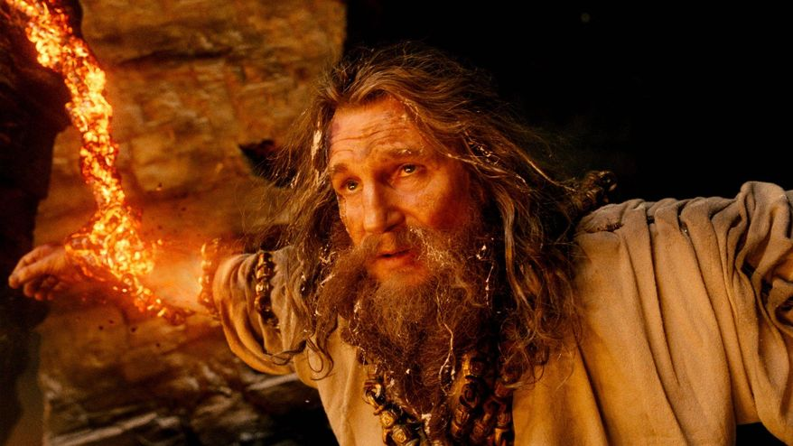 "Liam Neeson as Zeus is in a hard place between two rocks in ""Wrath of the Titans,"" a noisy sequel to 2010's ""Clash of the Titans."" (Warner Bros. and Legendary Pictures via Associated Press)"