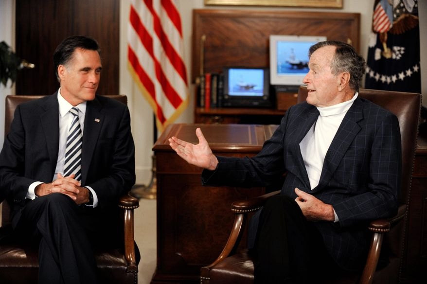 "Former Massachusetts Gov. Mitt Romney, a Republican presidential candidate, meets with former President George H.W. Bush in Houston on Thursday to receive his endorsement. Mr. Bush, who talked with the hopeful in his office, called Mr. Romney a ""good man"" who would ""make a great president."" (Associated Press)"