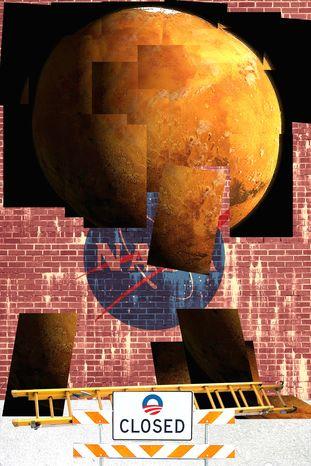 Illustration: Mars by Alexander Hunter for The Washington Times