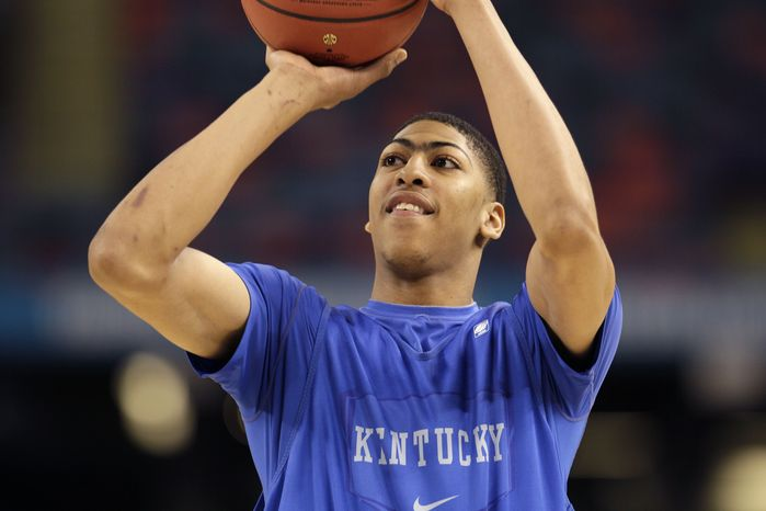Kentucky forward Anthony Davis warms up during a practice session for the NCAA Final Four tournament Friday, March 30, 2012, in New Orleans. Kentucky plays Louisville in a semifinal game on Saturday. (AP Photo/Mark Humphrey)