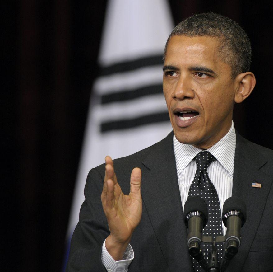 **FILE** President Obama speaks in Seoul on March 26, 2012. (Associated Press)