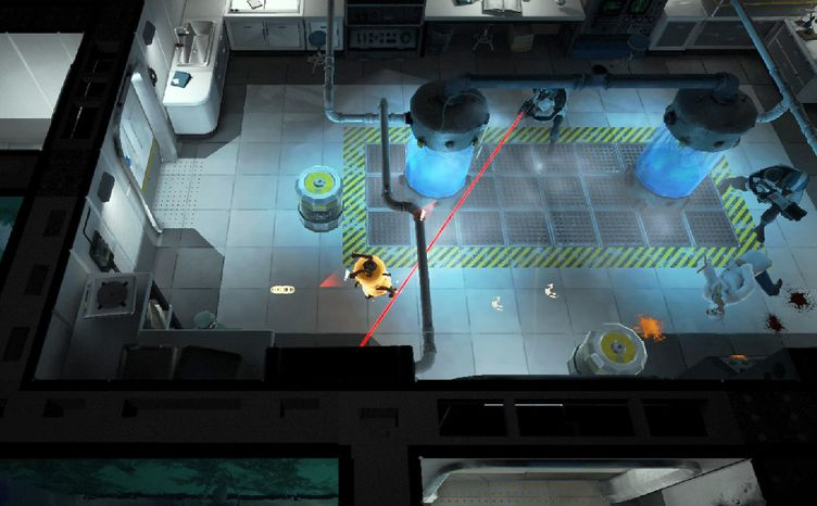 A player helps Zero escape a maze of obstacles in an underwater research facility in the PlayStation 3 video game Warp.