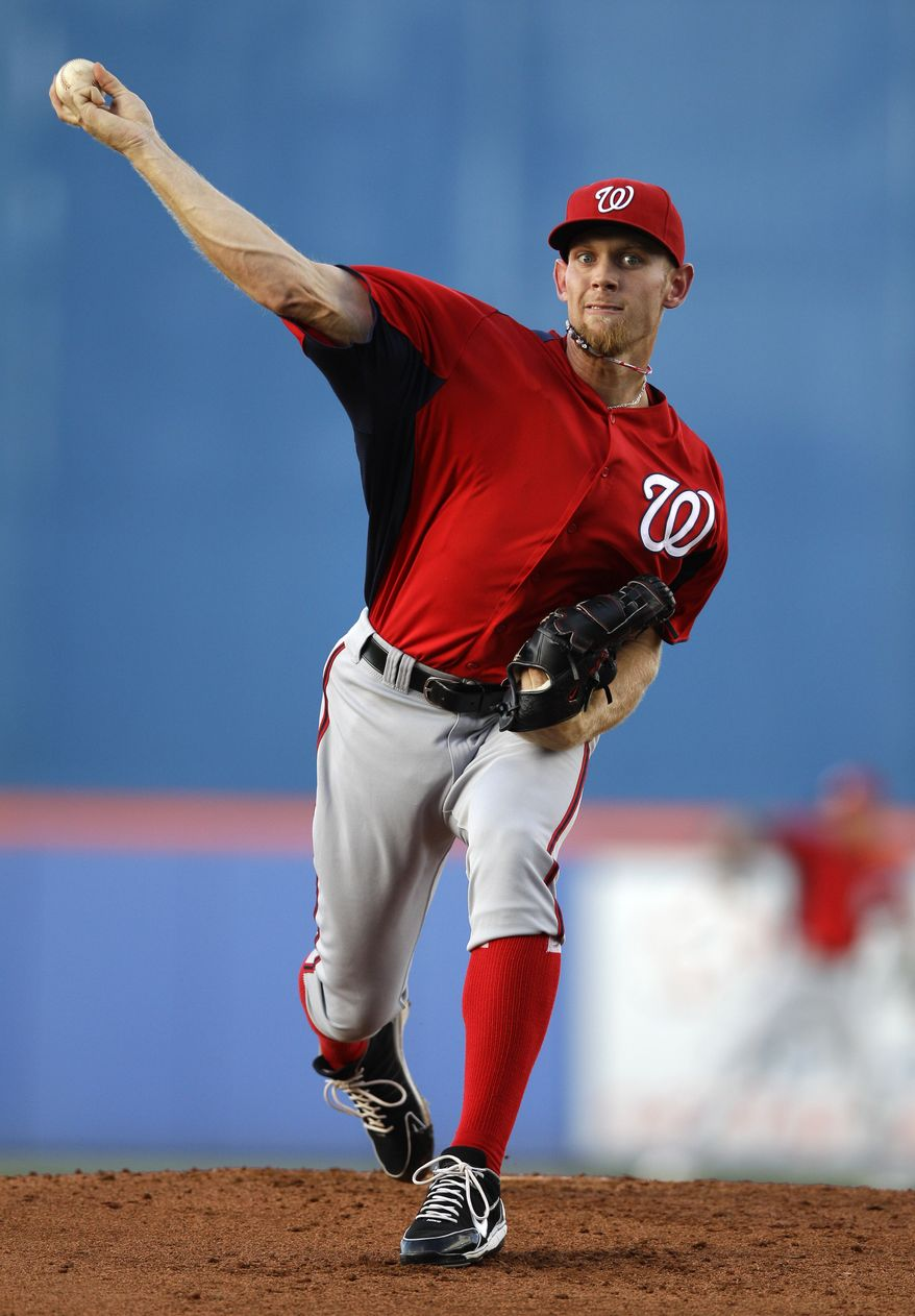 Washington Nationals starting pitcher Stephen Strasburg made his last start of the spring against the St. Louis Cardinals, throwing 67 pitches in four innings. He allowed three runs (two earned), five hits and fanned five. (AP Photo/Patrick Semansky)