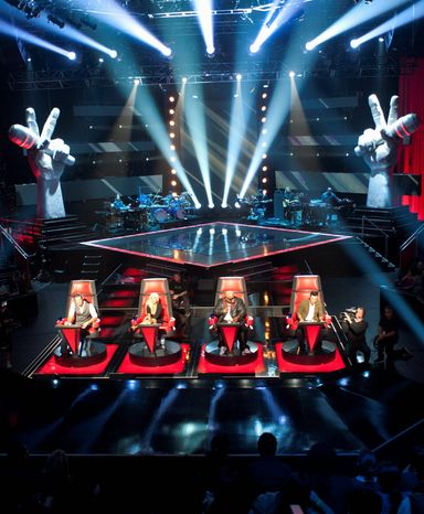 """NBC's singing competition """"The Voice"""" features (from left) Blake Shelton, Christina Aguilera, Cee Lo Green and Adam Levine as coaches. The show will now allow viewers to cast votes via Facebook's timeline app. (NBC via Associated Press)"""