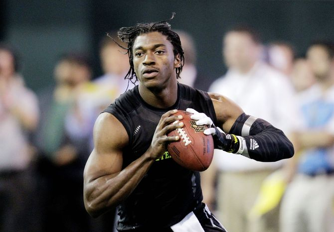 Baylor product Robert Griffin III and Andrew Luck out of Stanford are projected to be the top two picks in the NFL draft later this month. Whichever player isn't taken by the Indianapolis Colts with the top selection will likely be plucked by the Redskins, who traded up to No. 2. (Associated Press)