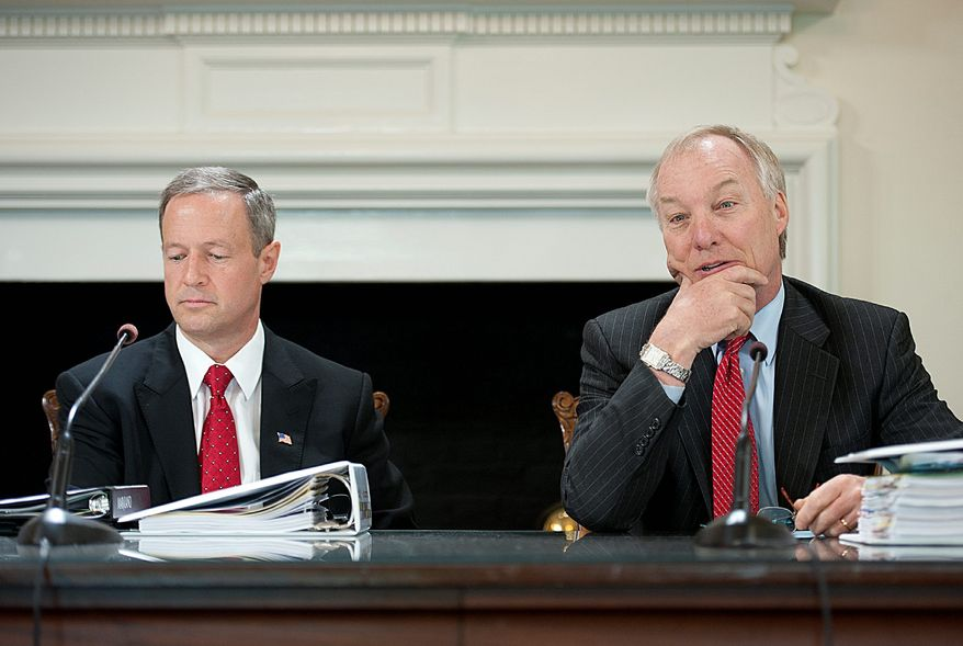 Maryland Gov. Martin O'Malley (left) and state Comptroller Peter V.R. Franchot (right) are among Maryland politicians who have received large campaign contributions from Jeffrey E. Thompson and his extensive network of businesses and business associates. (Barbara L. Salisbury/The Washington Times)
