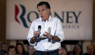 Republican presidential candidate and former Massachusetts Gov. Mitt Romney speaks to an audience April 1, 2012, during a campaign stop at a pancake breakfast in Milwaukee, Wis. (Associated Press)