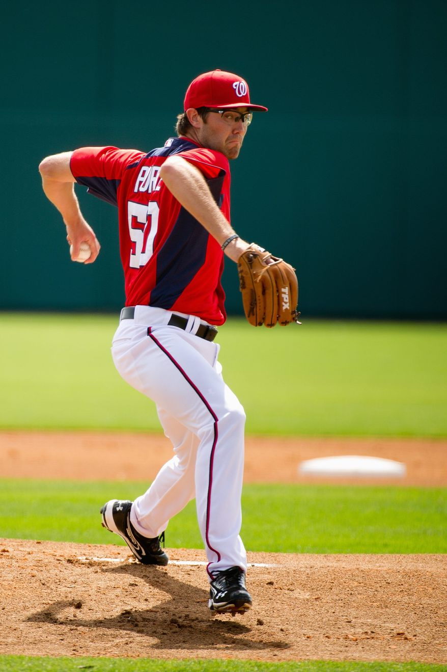 Washington Nationals starting pitcher Matt Purke (50) pitches against Georgetown University during spring training at Space Coast Stadium, Viera, Fla., Friday, March 2, 2012. (Andrew Harnik/The Washington Times)