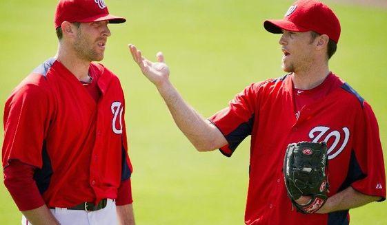 ** FILE ** Washington Nationals pitchers Ryan Mattheus (left) and Brad Lidge (Andrew Harnik/The Washington Times)