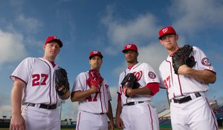 andrew harnik/the washington times The Nationals feature a formidable four of (from left) Jordan Zimmermann, Gio Gonzalez, Edwin Jackson and Stephen Strasburg. Washington traded for Gonzalez in December, and Jackson signed as a free agent in February.