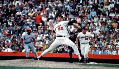 Jim Palmer, shown in the 1970 World Series, was part of a 1971 Orioles rotation that featured four 20-game winners, along with Dave McNally, Mike Cuellar and Pat Dobson. (Associated Press)