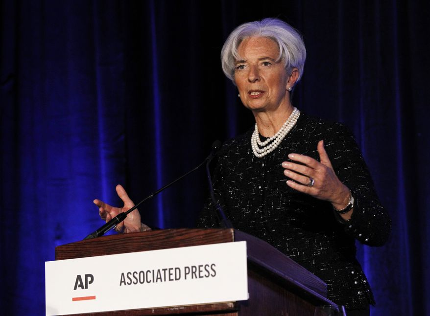 Christine Lagarde, managing director of the International Monetary Fund, speaks at the annual meeting of the Associated Press in Washington on Tuesday, April 3, 2012. (AP Photo/Pablo Martinez Monsivais)
