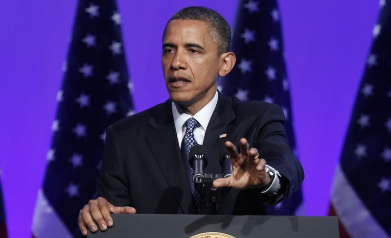 President Obama speaks April 3, 2012, at the Associated Press luncheon during the ASNE Convention in Washington. (Associated Press)