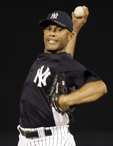 New York Yankees relief pitcher Mariano Rivera delivers a warm-up pitch before the fourth inning of a spring training baseball game against the Pittsburgh Pirates at Steinbrenner Field in Tampa, Fla., Tuesday, March 20, 2012. (AP Photo/Kathy Willens)