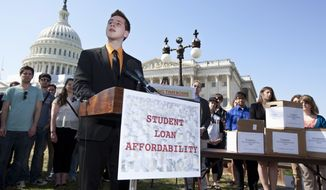 Northern Arizona University freshman Tyler Dowden, 18, speaks March 13, 2012, during a news conference on Capitol Hill in Washington to announce the collection of more than 130,000 letters to Congress to prevent student loan interest rates from doubling this July. (Associated Press)