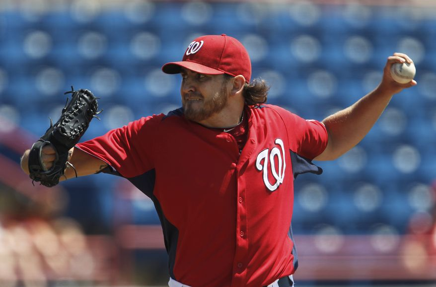 The Nationals on Tuesday demoted pitcher John Lannan to the minor leagues. They'll use Ross Detwiler in the fifth spot. (AP Photo/Paul Sancya)