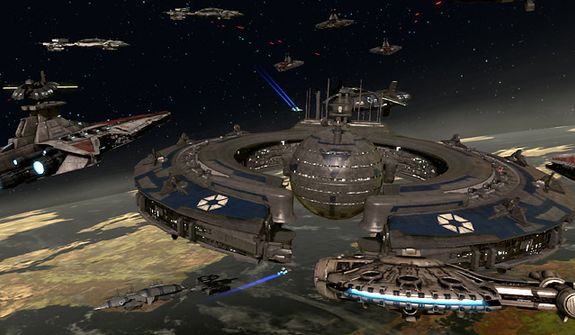 Man the gun turrets for space battles in the video game Kinect Star Wars.