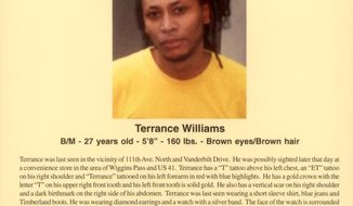 Terrance Williams is pictured on a missing man poster provided by the Williams family. He has been missing since Jan. 12, 2004, when he was last seen with Collier County Sheriff's Cpl. Steve Calkins, who was fired after failing a polygraph about Williams' disappearance. (Associated Press)