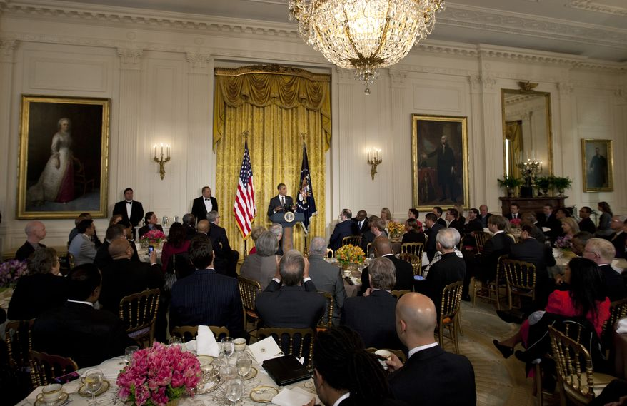 President Obama speaks during the Easter prayer breakfast in the East Room of the White House in Washington on Wednesday, April 4, 2012. (AP Photo/Carolyn Kaster)