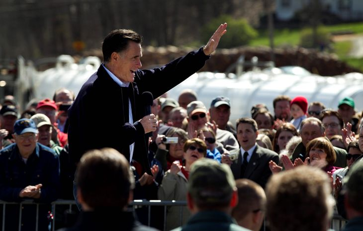 "GOP presidential hopeful Mitt Romney campaigns Thursday in Tunkhannock, Pa. The former Massachusetts governor said he expects to ""pick up a lot of delegates"" in the Keystone State. (Associated Press)"