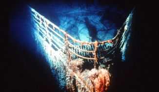 """The bow of the Titanic rests on the bottom of the North Atlantic, about 400 miles southeast of Newfoundland. April 15 is the 100th anniversary of the sinking of the ship, touted as """"unsinkable"""" because of its safety features, on its maiden voyage. (Associated Press)"""