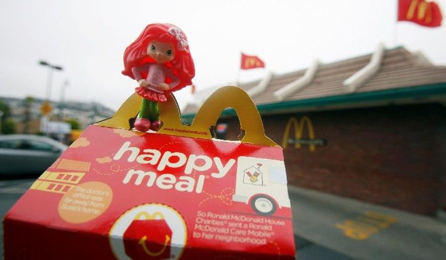 ** FILE ** McDonald's Happy Meal was the target of a class-action lawsuit filed in California in 2010 and dismissed by a San Francisco judge in 2012. It had claimed the hamburger chain was violating consumer protection laws and exploiting children's vulnerability to toys to get them to eat nutritionally unbalanced meals that can lead to obesity. (Associated Press)