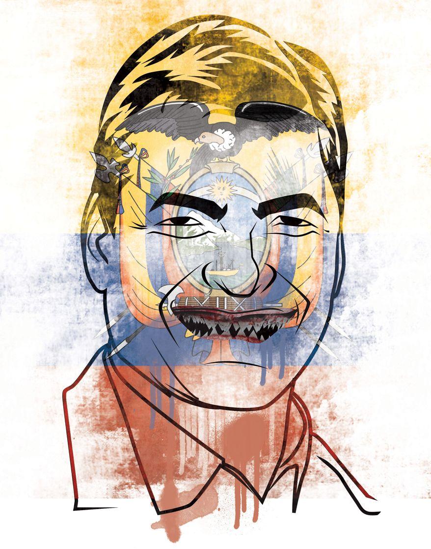Illustration: Rafael Correa by Linas Garsys for The Washington Times