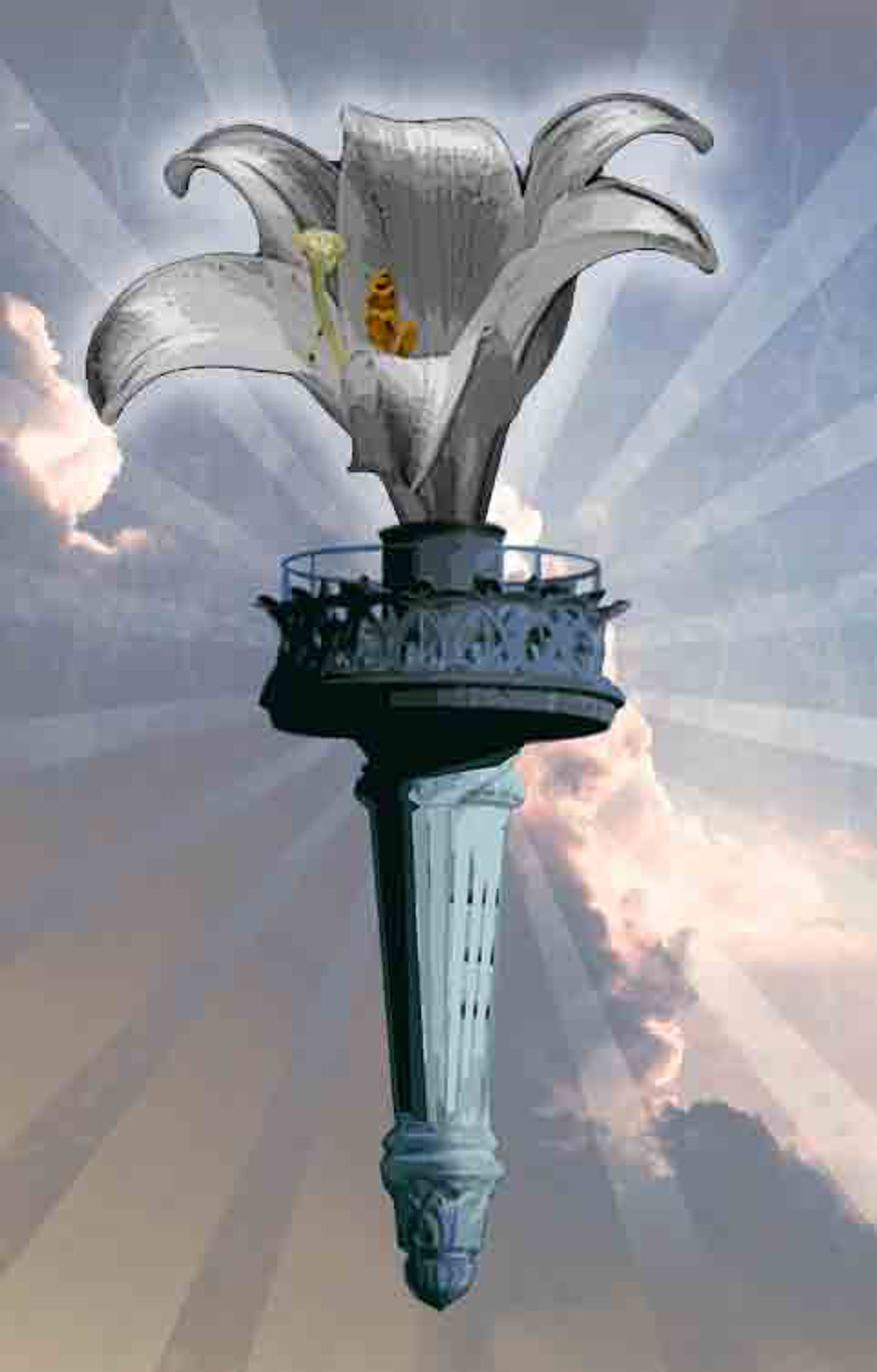Illustration: Lily torch by Greg Groesch for The Washington Times