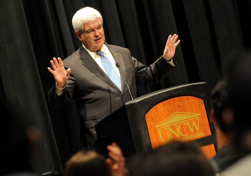 Republican presidential candidate Newt Gingrich, a former House speaker, speaks to a full house at the University of North Carolina-Wilmington's Lumina Theater in Wilmington, N.C., on Wednesday, April 4, 2012. (AP Photo/The Star-News, Paul Stephen)