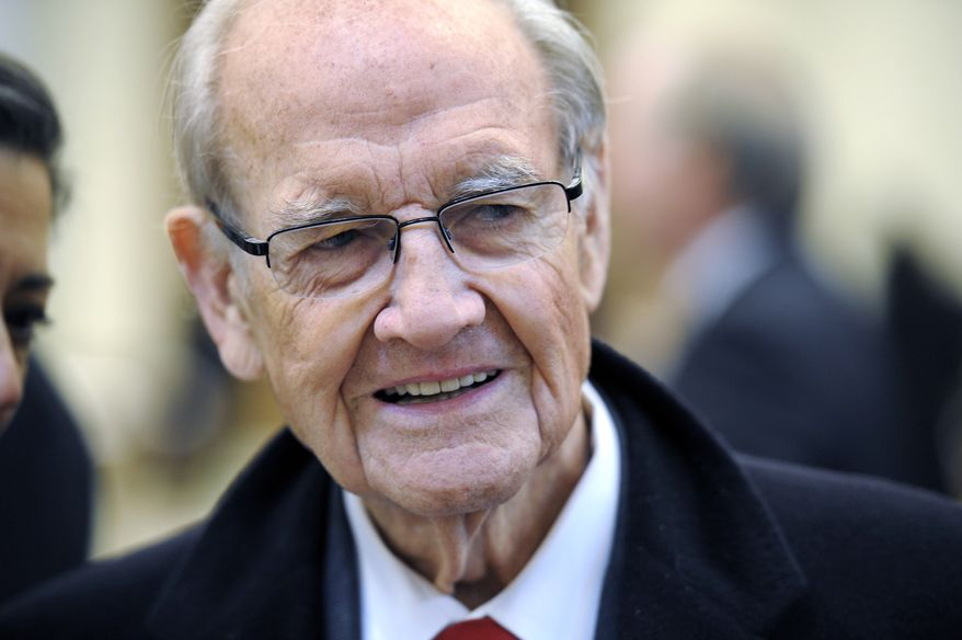 Former Sen. George McGovern, the 1972 Democratic presidential nominee, arrives for the funeral Mass for R. Sargent Shriver, Mr. McGovern's vice presidential running mate, at Our Lady of Mercy Church in Potomac, Md., on Saturday, Jan. 22, 2011 (AP Photo/Cliff Owen, Pool)