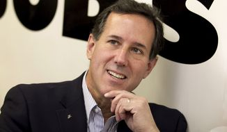 Republican presidential candidate and former Pennsylvania Sen. Rick Santorum sits April 4, 2012, in a booth at Bob's Diner in Carnegie, Pa. (Associated Press)