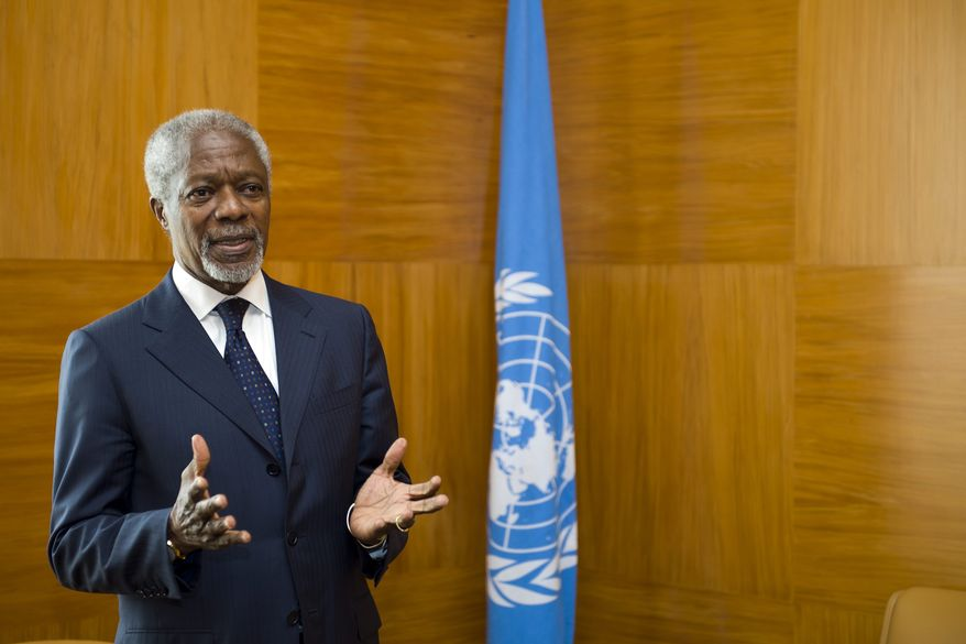 Former U.N. Secretary-General Kofi Annan, the U.N.-Arab League special envoy for Syria, awaits the arrival of Maj. Gen. Robert Mood from Norway at the European headquarters of the United Nations in Geneva on Wednesday, April 4, 2012. Gen. Mood will lead a team to negotiate the possible deployment of U.N. monitors for any cease-fire between Syrian troops and rebel forces. (AP Photo/Keystone, Martial Trezzini)