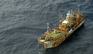 The unmanned Japanese fishing vessel Ryou-un Maru dirfts northwest in the Gulf of Alaska approximately 164 miles southwest of Alaska's Baranof Island on Wednesday, April 4, 2012. (AP Photo/U.S. Coast Guard Petty Officer 1st Class Sara Francis)