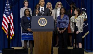 President Obama speaks April 6, 2012, at the Forum on Women and the Economy at the White House. (Associated Press)