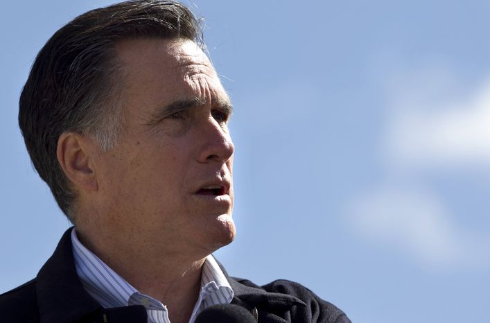 Republican presidential candidate Mitt Romney speaks in Tunkhannock, Pa., on Thursday, April 5, 2012. (AP Photo/Steven Senne)