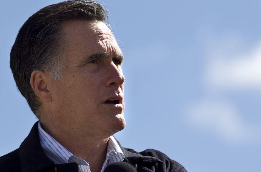 Republican presidential candidate Mitt Romney speaks in Tunkhannock, Pa., on Thursday, April 5, 2012. (AP Photo/Steven Senne)