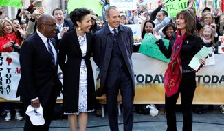"From left, ""Today"" show co-hosts, Al Roker, Ann Curry and Matt Lauer talk with Sarah Palin during the show in New York on Tuesday, April 3, 2012. Palin was the much-hyped guest co-host on NBC's ""Today,"" going head-to-head against former ""Today"" anchor Katie Couric, who this week is subbing on ""Good Morning America"" at her current workplace, ABC. (AP Photo/NBC, Peter Kramer)"