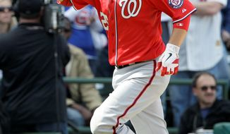 Nationals first baseman Adam LaRoche rounds the bases after hitting a two-run homer in the eighth. It was LaRoche's second home run in as many games. (Associated Press)