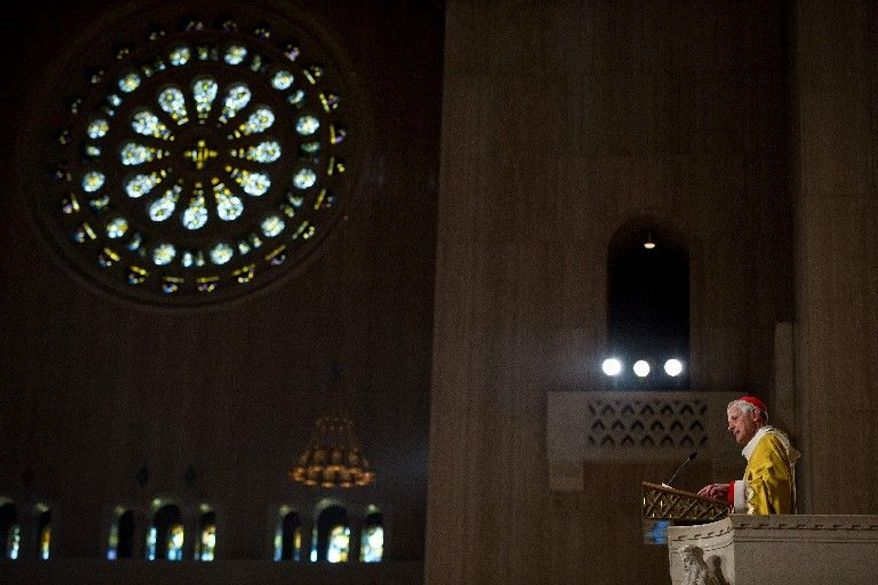 "Cardinal Donald W. Wuerl celebrates Easter Sunday Mass at the National Shrine - asking, ""What does 'Alleluia' mean?"" (Rod Lamkey Jr./The Washington Times)"