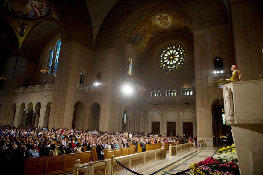 Cardinal Donald Wuerl, Archbishop of Washington delivers his speech during the Easter Sunday Solemn Mass at the Basilica of the National Shrine of the Immaculate Conception. (Rod Lamkey Jr/The Washington Times)