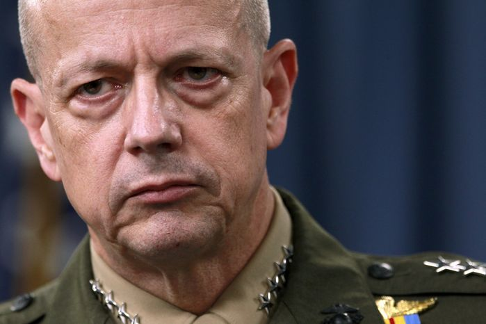 ** FILE ** Marine Corps Gen. John Allen, the top U.S. commander in Afghanistan, listens during a news conference at the Pentagon outside Washington on Monday, March 26, 2012. (AP Photo/Haraz N. Ghanbari)