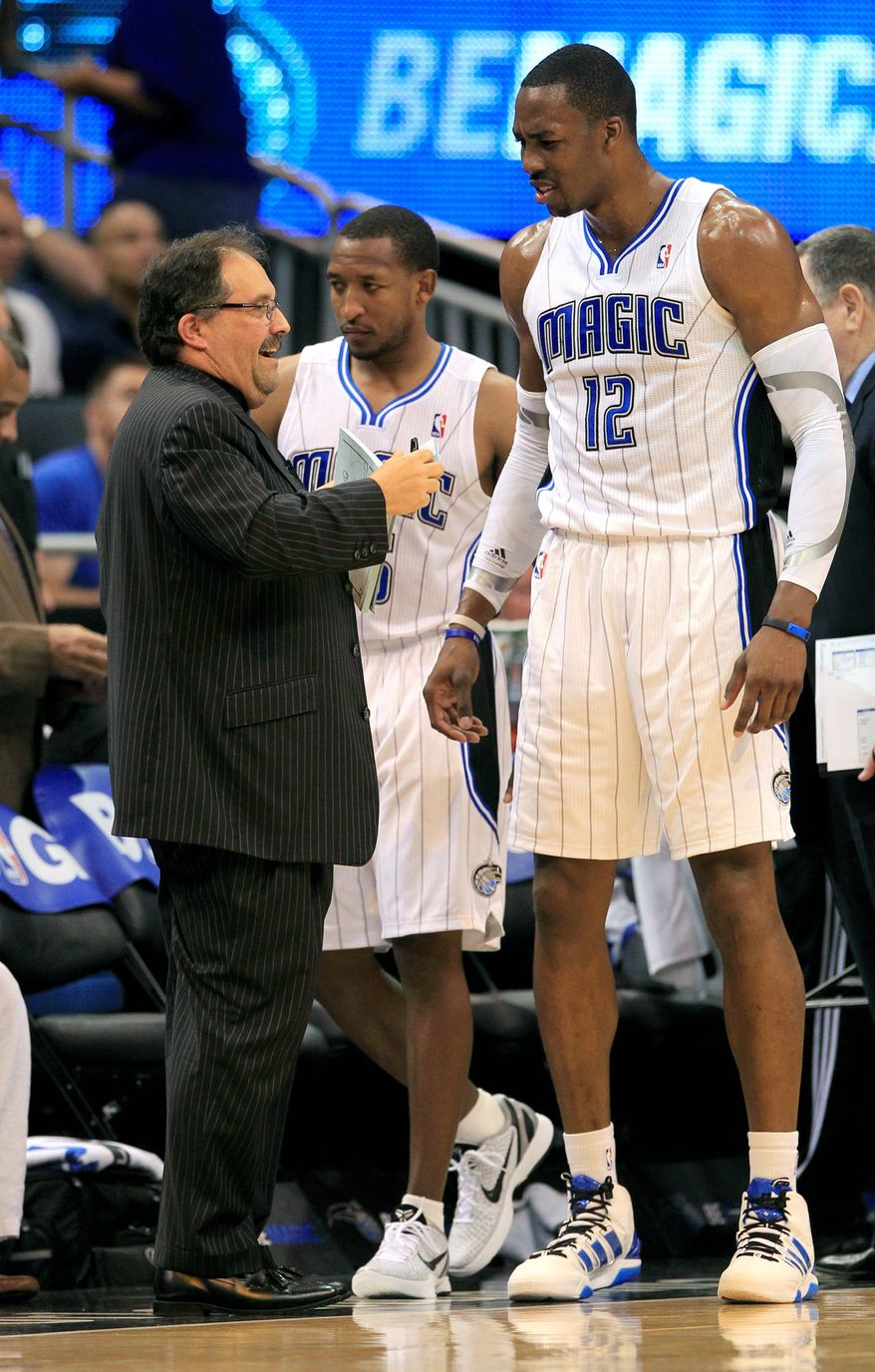 Orlando coach Stan Van Gundy and Dwight Howard have had less than a cordial relationship. Even though Howard re-signed with the Magic for next season, reports emerged that Howard asked team officials to fire Van Gundy.(Associated Press)