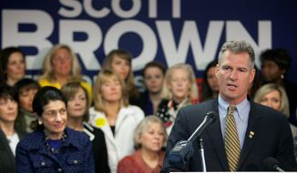 Sen. Scott P. Brown, Massachusetts Republican, reported far less in campaign contributions than his Democratic challenger, Elizabeth Warren, during the three-month period from January through March. He raised about $3.4 million; the Warren campaign reported taking in $6.9 million. (Associated Press)