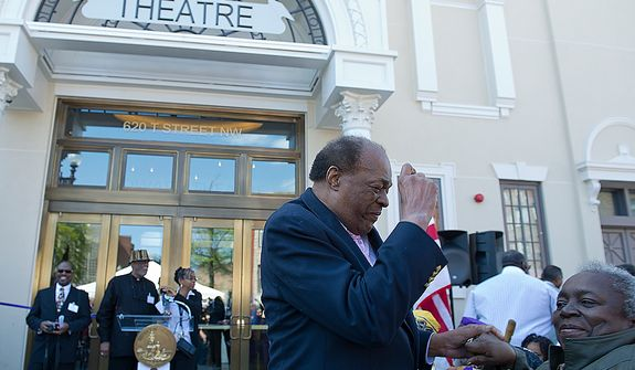 Councilman Marion Barry dances with Elizabeth Hicks at the opening celebration for the Howard Theatre in Washington, D.C. on Monday, April 9, 2012. Barry said he had heard about the Howard before moving to Washington in 1965, but once he arrived in town he had to go check it out. Hicks, who has lived in the District since the 1970s, said she used to see shows here all the time. (Barbara L. Salisbury/The Washington Times)