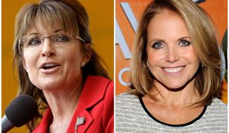 "Ben Carson can expect ""the full-bore Sarah Palin treatment"" from the left, says Steve Deace. As the GOP vice presidential nominee in 2008, Mrs. Palin, left, was interviewed by an adversarial Katie Couric, right. (AP Photo)"