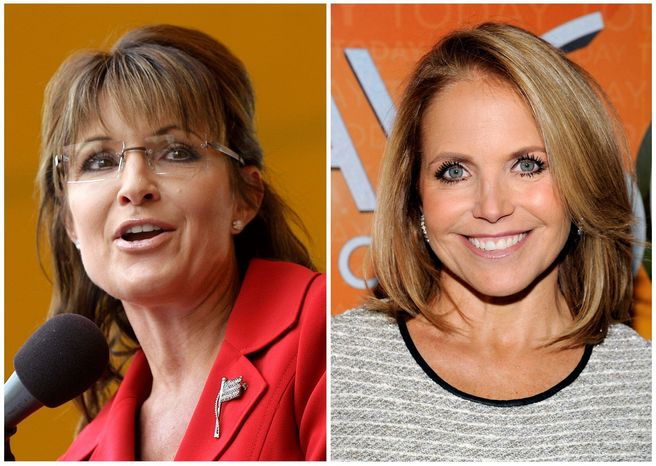 """Ben Carson can expect """"the full-bore Sarah Palin treatment"""" from the left, says Steve Deace. As the GOP vice presidential nominee in 2008, Mrs. Palin, left, was interviewed by an adversarial Katie Couric, right. (AP Photo)"""