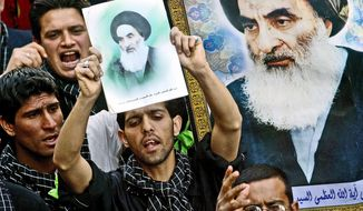 ** FILE ** Iraqi Shiite Muslims venerate Grand Ayatollah Ali al-Sistani, a man of influence in Iraq who is revered as well as by Shiites around the world. He is now 81 years old and has lived in seclusion for years. (Associated Press)