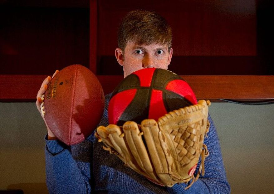 Toby Mergler, a lawyer by trade, who was laid off in March 2009, has created a new fantasy-sports league that encompasses multiple sports, called the League of Leagues. (Barbara L. Salisbury/The Washington Times)