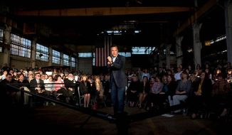 Republican presidential hopeful Mitt Romney speaks at a campaign stop at R.C. Fabricators on Tuesday in Wilmington, Del., where he met with a group of female business owners. R.C. Fabricators designs and erects structural steel. (Associated Press)