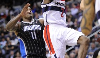 Washington Wizards guard John Wall had 15 points and seven assists in the team's 93-85 win over the Orlando Magic on Tuesday. (AP Photo/Nick Wass)